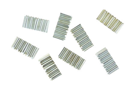 cabinetry: Several corrugated joint fasteners used for picture frames and cabinetry construction on a white background.