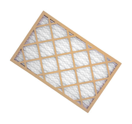 A new cardboard, wire mesh and fabric furnace filter on a white background. Standard-Bild