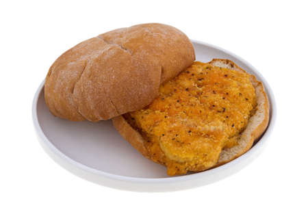 inexpensive: A freshly cooked breaded chicken sandwich on a small plate isolated atop white background. Stock Photo