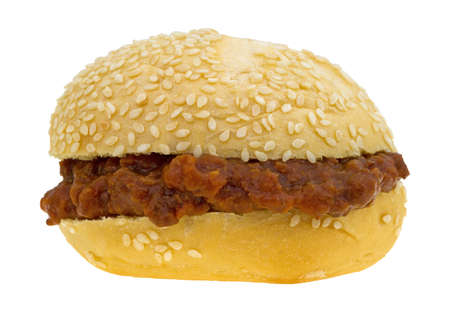 sloppy: A sesame seed roll sloppy joe sandwich isolated on a white background.