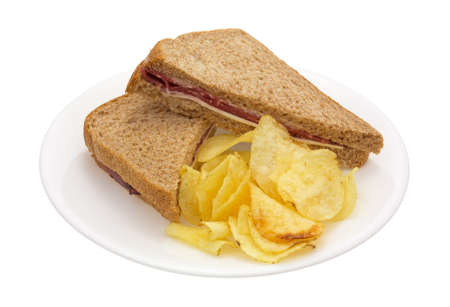 queso blanco: Un s�ndwich de carne asada con queso blanco y mayonesa, m�s papas fritas en un plato blanco.