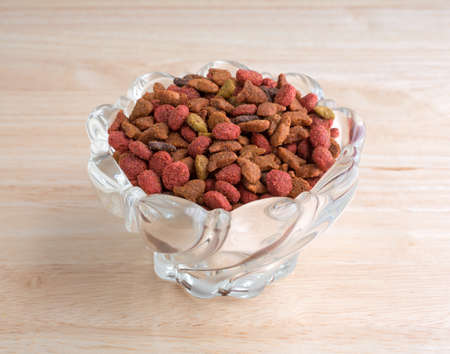 cat food: A decorative glass bowl filled with generic dry cat food on a wood counter top.