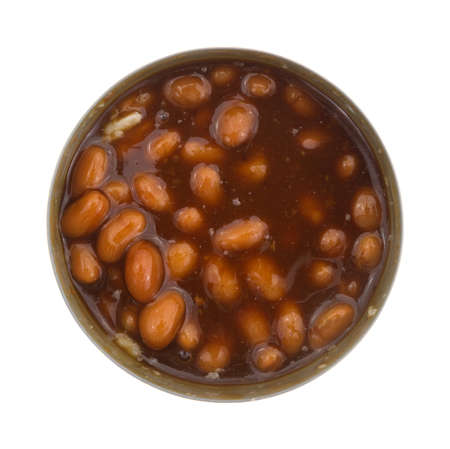 stirred: Top view of an opened can of baked beans that has been stirred isolated on a white background.
