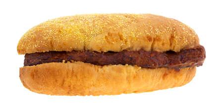 pork rib: Un panino costola di maiale con salsa barbecue isolato su uno sfondo bianco.
