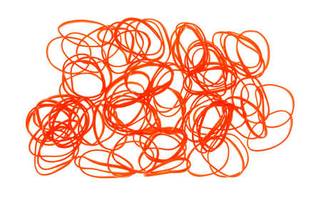rubber bands: A group of small orange rubber bands used for hair ponytails on a white background.