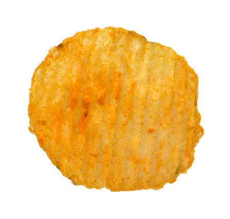 A single cheddar cheese potato chip isolated on a white background.