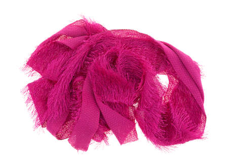 jumble: A length of fuzzy fuchsia trim fabric in a jumble on a white background.