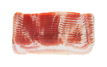 Several rows of sliced smoked low sodium bacon isolated on a white background.