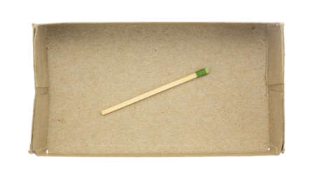 unlit: A single large kitchen match in the bottom of a thin cardboard box isolated on a white background.