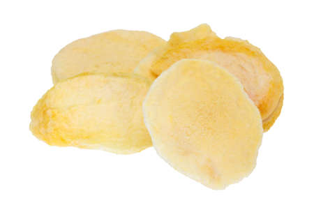 A serving of dried peach slices isolated on a white background. Stock Photo