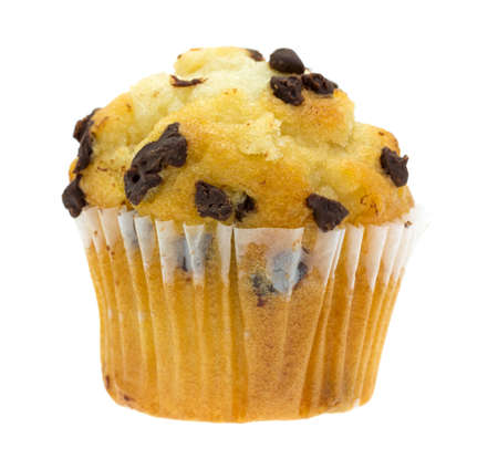 muffin: A small freshly baked chocolate chip muffin isolated on a white background.