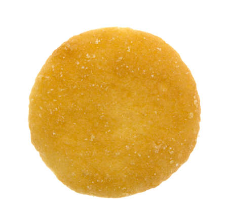 Top view of a single vanilla flavored wafer cookie on a white background.