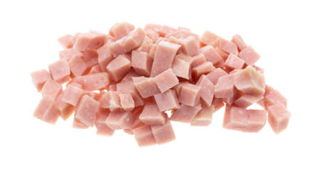 A portion of diced ham isolated on a white background.