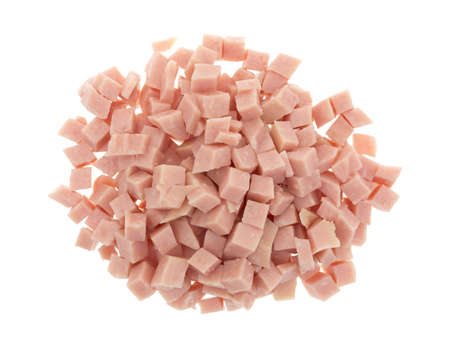 Top view of a portion of diced ham isolated on a white background.