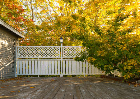 cleared: A wide wood deck with a border fence in the background plus fall trees cleared for winter.