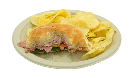comida italiana: An Italian salami sub sandwich that has been mostly eaten on a recycled paper plate with plain chips isolated on a white background. Foto de archivo