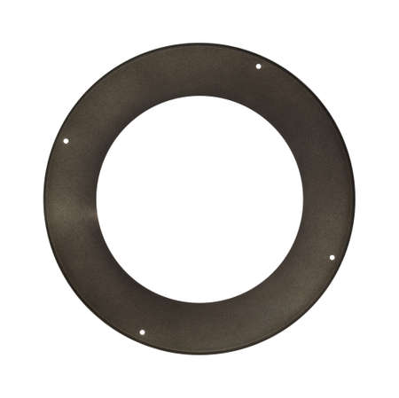 stove pipe: The bottom of a round wood stove pipe trim cover isolated on a white background.