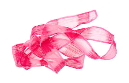 sheer: A small length of sheer vibrant pink ribbon cloth with a binding stitch unfolded isolated on a white background.