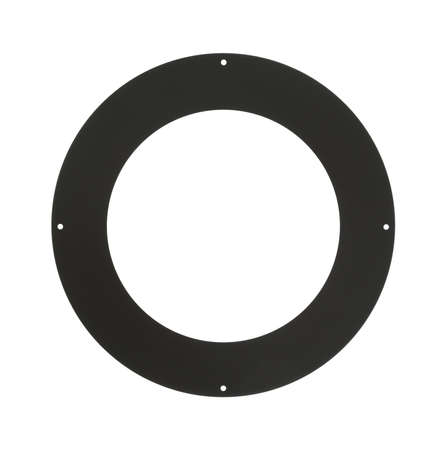 stove pipe: Top view of a round wood stove pipe trim cover isolated on a white background. Stock Photo