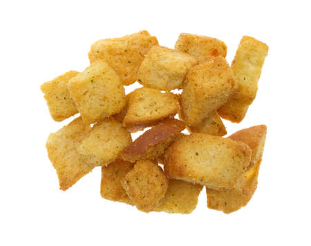 cubed: Top view of a portion of large seasoned croutons isolated on a white background.