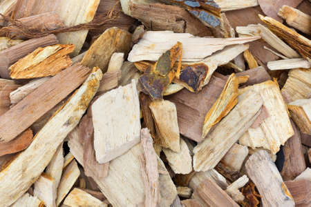 flavoring: Close view of apple wood chips for flavoring barbeque and grilled foods.