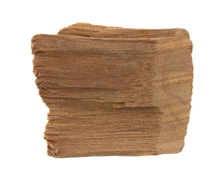 wood chip: An apple wood chip for flavoring barbeque and grilled foods isolated on a white background.