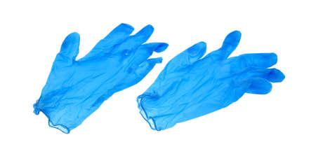 新しいブルー ラテックス手袋白い背景で隔離のペア。