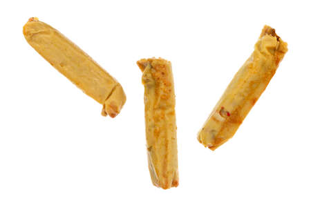 processed food: Top view of three canned tamales isolated on a white background.