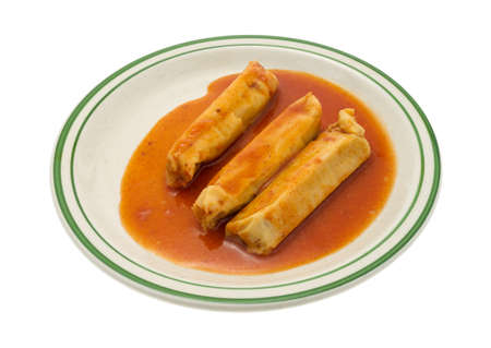 plates of food: A serving of canned tamales in chili sauce on a plate isolated on a white background.