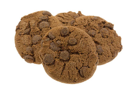 A group of chocolate chip cookies with extra chocolate chips isolated on a white background. 스톡 콘텐츠