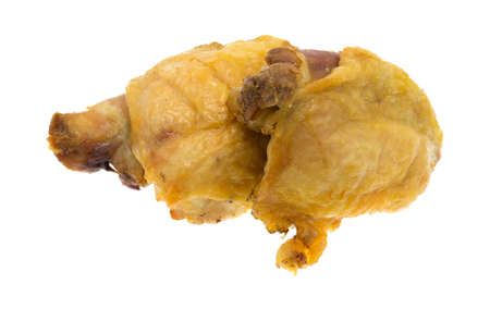 home cooked: Two pieces of home cooked roasted chicken thighs isolated on a white background.