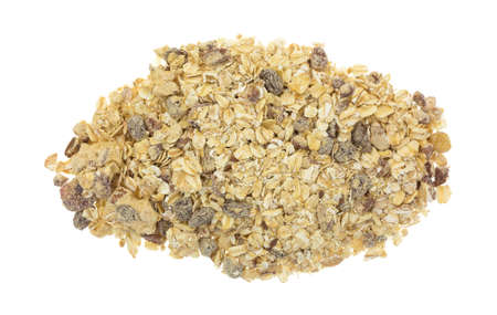 pecans: Top view of a serving of dry oatmeal with pecans and raisins isolated on a white background. Stock Photo