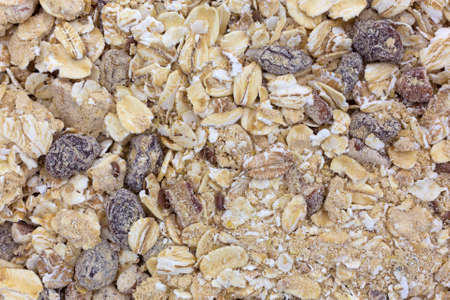 pecans: A close view of dry oatmeal with pecans and raisins.