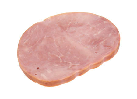 A large slice of a low sodium hickory smoked ham steak isolated on a white background. Stock Photo