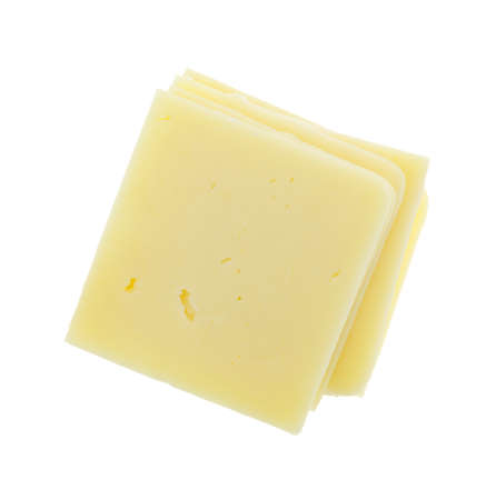 Top view of a stack of square cheddar cheese slices isolated on a white background. Imagens