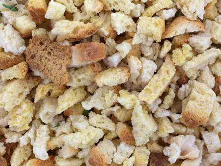 stuffing: A very close view of dry stuffing mix.
