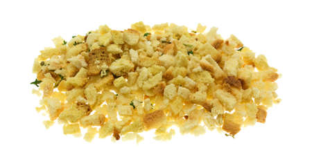 stuffing: A portion of crumbled dry stuffing mix isolated on a white background.