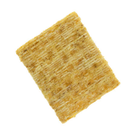 Top view of a whole grain wheat cracker isolated on a white background.