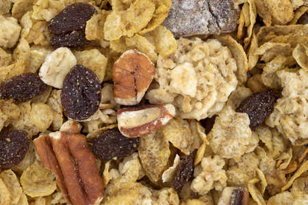 whole pecans: A very close view of pecans, raisins and dates breakfast cereal.