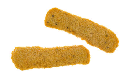 chicken fingers: Two chicken fingers that are frozen solid isolated on a white background.