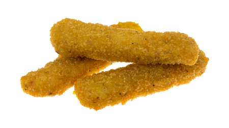 chicken fingers: Three microwaved chicken fingers isolated on a white background.