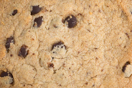 A very close view of a chocolate chip gluten-free cookie.