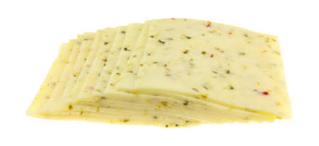 Side view of several slices of pepper jack cheese isolated on a white background. Standard-Bild
