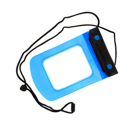 valuables: Top view of a small blue and black waterproof pouch for valuables isolated on a white background.