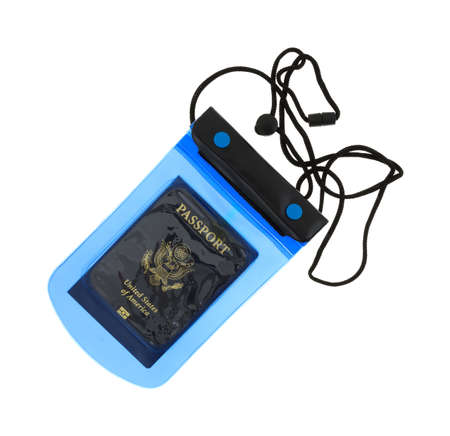 valuables: Top view of a small blue and black waterproof pouch for valuables with a US passport inside isolated on a white background.