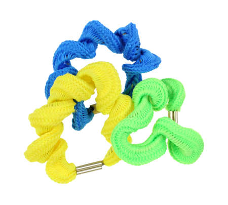 stretchy: Three colorful ponytail holders isolated on a white background.