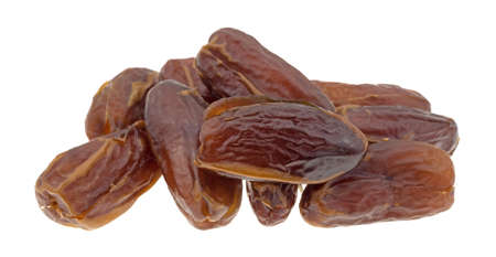 A group of Tunisian pitted dates isolated on a white background.