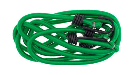 metal fastener: Top view of two green bungee cords neatly arranged isolated on a white background.
