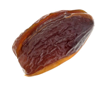 A single Tunisian pitted date isolated on a white background.