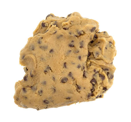 misshapen: A ball of chocolate chip cookie dough isolated on a white background. Stock Photo